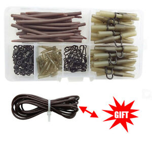 Carp Fishing Tackle Anti Tangle Sleeves Silicone Rig Tube Lead Clip Set With Box