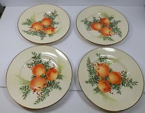 Set-of-4-Lennox-Williamsburg-Boxwood-and-Pine-Luncheon-Accent-Plate-with-Oranges
