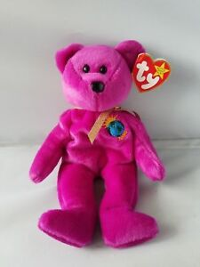 2e77d30443a TY BEANIE BABY MILLENNIUM BEAR MAGENTA NEW CENTURY RARE RETIRED WITH ...