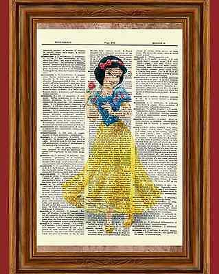 Snow White Dictionary Art Print Poster Picture Disney Princess Vintage Book