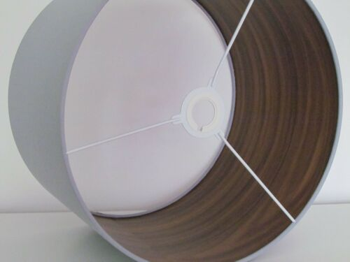 NEW Handmade Walnut Lined Light Grey Drum Lampshade Lightshade Other Colours