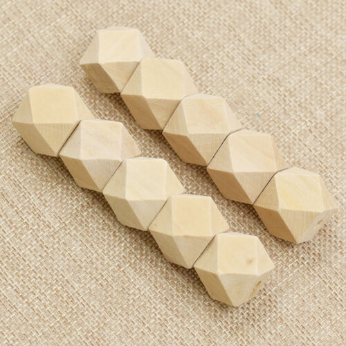 10 Pcs Wooden Geometric Beads for Necklace Bracelets Jewelry Making Accessories