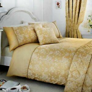 Serene Jasmine Floral Jaquard Weave Chapagne Duvet Cover Set,Curtains,Bedspread