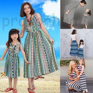 Family-Outfit-Clothes-Mother-Daughter-Summer-Dresses-Women-Kids-Girls-Long-Dress