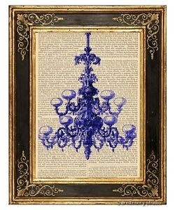 Blue Chandelier Art Print on Vintage Book Page Home Interior Wall Hanging Decor