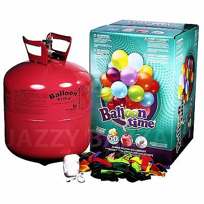 50 Jumbo Helium Balloons Bulk Kit Balloon Time Gas Tank Bottle Inflator Ribbon