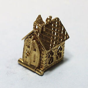 14k gold vintage CHURCH WITH WEDDING RINGS charm OPENS