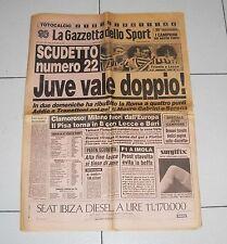 La Gazzetta dello Sport JUVE VALE DOPPIO Juventus SCUDETTO 22 - 28 aprile 1986