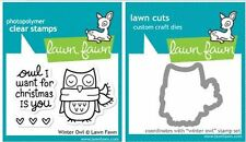 Lawn Fawn Photopolymer Clear Stamps - 3ct, PLUS DIE ~ WINTER OWL ~ LF434, LF580