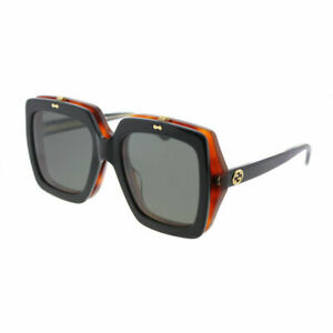 f572b94a2b Gucci GG 0088S 002 Flip Up Black Havana Plastic Square Sunglasses ...