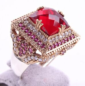 TURKISH-JEWELRY-925-SILVER-HANDMADE-RUBY-GEMSTONE-WOMAN-LADIES-RING-ALL-SIZE