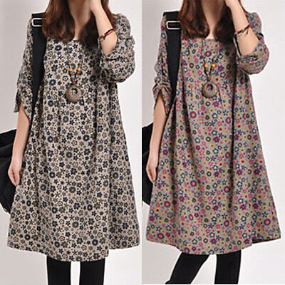 Autumn/Winter Womens Round Collar Flower Printed Long Sleeve Loose Knitted Dress