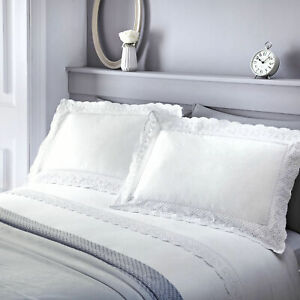 Duvet Cover Set White Vintage Lace Broderie Anglaise Bedding