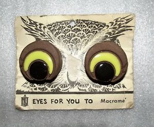 Vintage-From-the-70s-Macrame-Owl-Eye-Beads-Arts-amp-Crafts-Decor-Brown-RARE