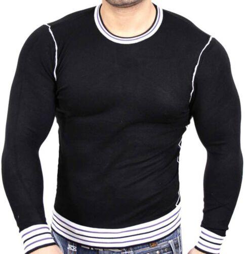 Uomo Pullover Felpa finemente lavorato a maglia UNI Pullover Sweater Nero jp-936