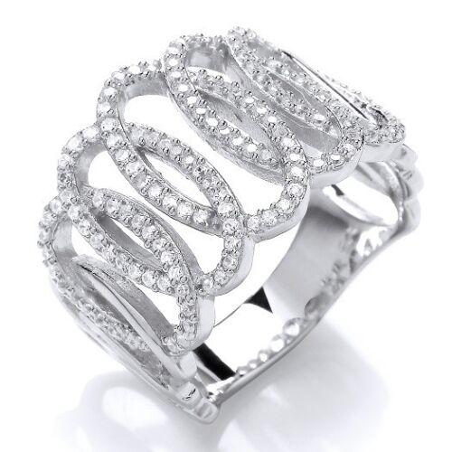 Rhodium Plaqué 925 Hallmarked Silver Lien Ovale Pave Set Large Bande Robe Ring