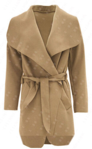 R35 NEW WOMENS LADIES BELT TRENCH LONG SLEEVE DRAPED JACKET IN 08-24