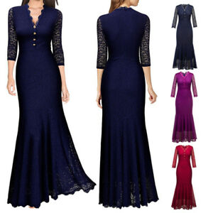 Long-Bodycon-Dress-Women-Lace-Formal-Wedding-Fishtail-V-Neck-Evening-Ball-Gown