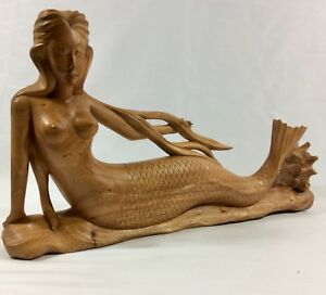 """Antiques 20""""w By11""""h By3 1/2d Demand Exceeding Supply Self-Conscious Mermaid Hand Carved From Mahogany Wood With Amazing Details Carved Figures"""