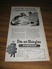 1955 Print Ad Ruberoid Asbestos Shingles Big Bad Wolf & Barn