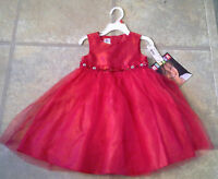 (nwt)muneca Size 18 Mo. Beautiful Red Lined Holiday/party Dress Retails $42.00