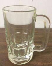 "VTG ANCHOR HOCKING 5.5"" HEAVY CLEAR GLASS BEER/ DRINK MUGS W/ HANDLE"
