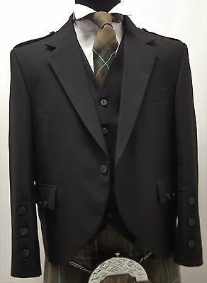 New Black Crail Jacket & Vest Scottish Kilts Hand Made Wedding attire Party Dres