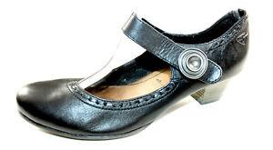 Details zu TAMARIS schwarze Pumps Mary Jane 41 UK 7,5 Klett bequem flach Halb Schuhe TOP