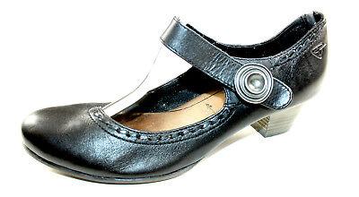 TAMARIS schwarze Pumps Mary Jane 41 UK 7,5 Klett bequem flach Halb Schuhe TOP | eBay