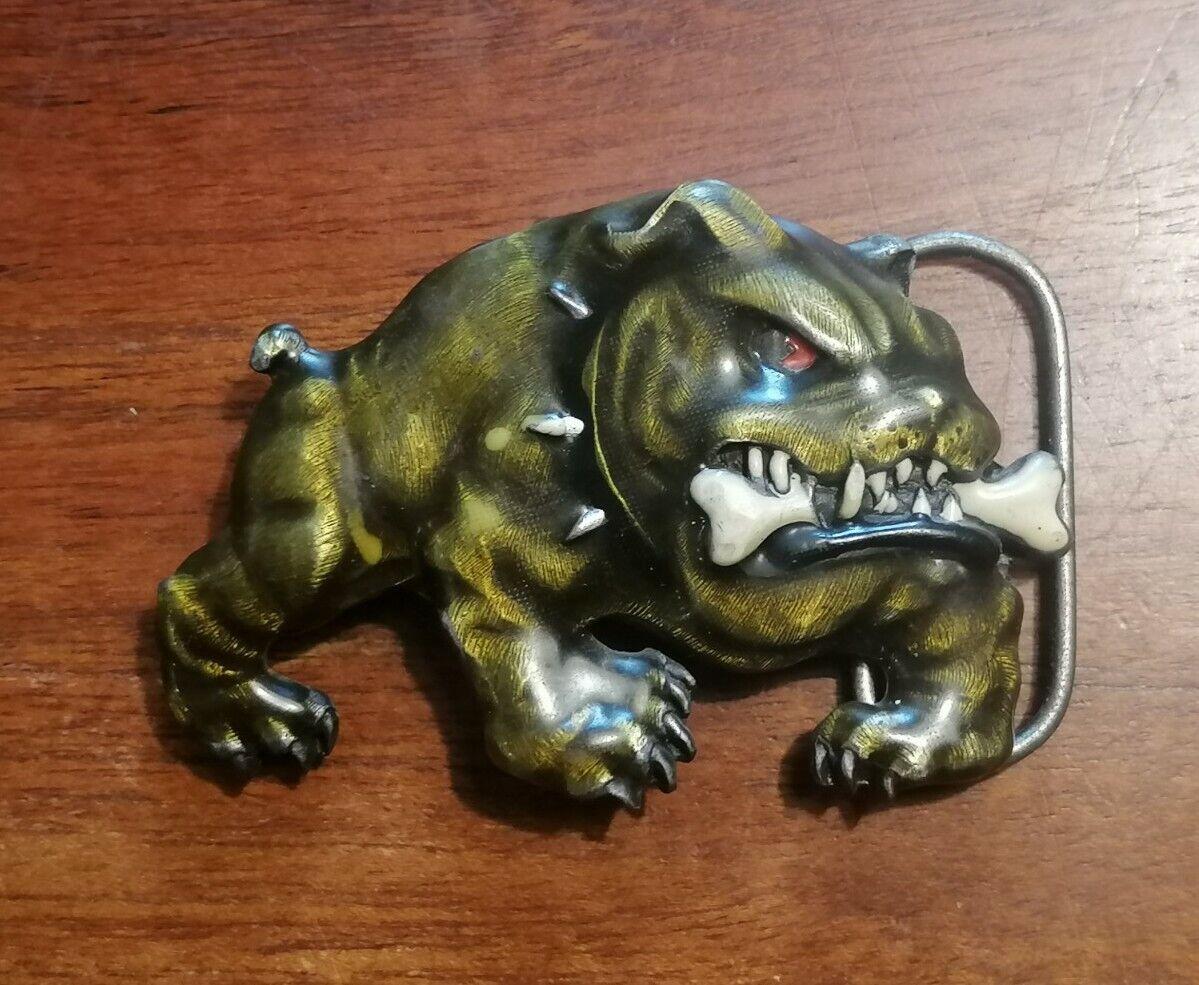 Gürtelschnalle Bulldog Spirit Siskiyou Buckle Co. USA Vintage 90s U8 9x6cm