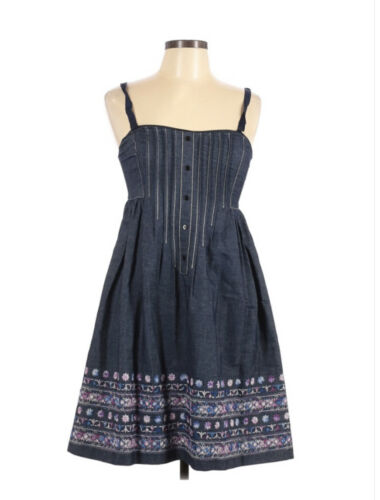 Anna Sui Variegated Floral Embroidered Denim Dress