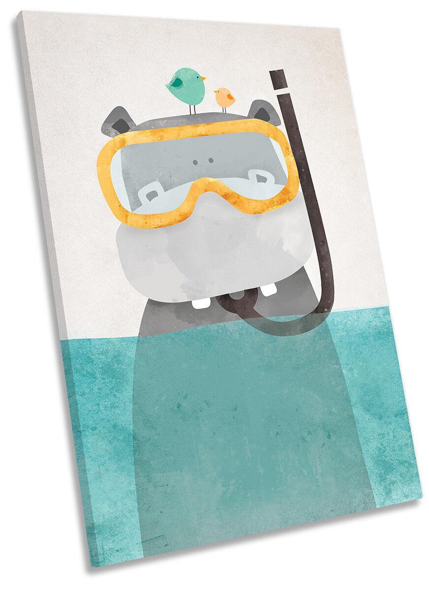 Hippo Snorkel Bathroom CANVAS WALL ARTWORK Portrait Print Art