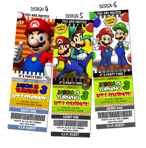 Super Mario Bros Birthday Party Invitation Ticket Brothers Custom