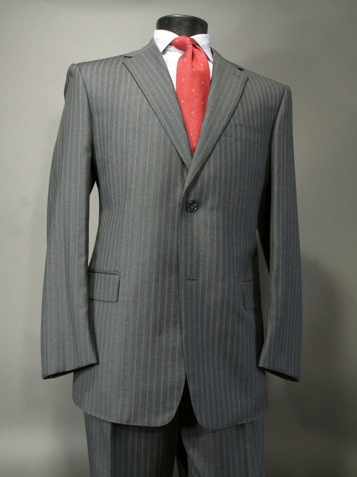 New JHANE BARNES Suit 44R L, Hand TailoROT, Full Canvas 2 Btn, Side Vents