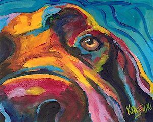 Labrador Retriever Art Print Signed Artist Ron Krajewski Painting 8x10 Chocolate