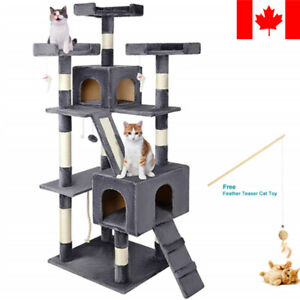 "68"" Large Cat Tree Condo with Sisal Scratching Posts Kitten Play House with Toy"