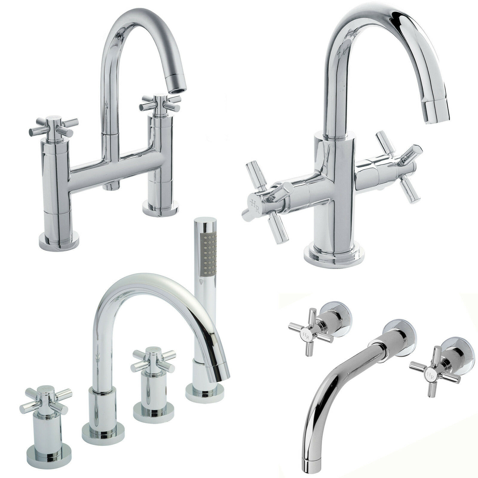 Hudson Reed Tec crosshead bassin mélangeur robinets bain douche chrome salle bains de remplissage