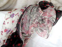 Polyester Polka Dot, Paisley, Floral Scarf/pareo Black, Red, Purple, White