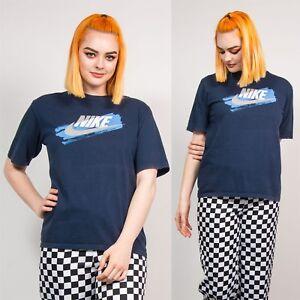 c27ec607 90'S WOMENS NAVY BLUE NIKE LOGO PRINT VTG T-SHIRT TOP WAVEY SHORT ...