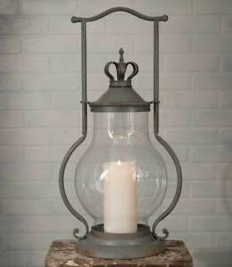 Country-new-Large-CROWN-tin-Candle-Lantern-nice