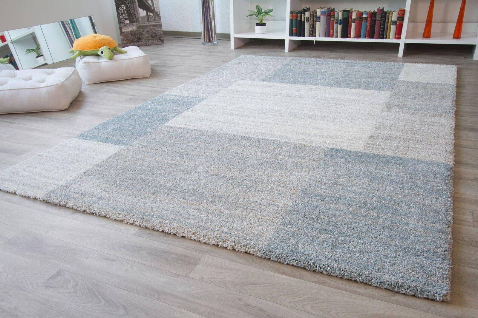 Designer Teppich Modern Nancy Felder Uni Uni Uni Beige Creme Silber Hellblau Grau Neu 0b8877