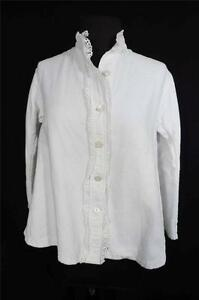RARE-FRENCH-ANTIQUE-EDWARDIAN-ERA-WHITE-QUILTED-COTTON-BLOUSE-SIZE-LARGE