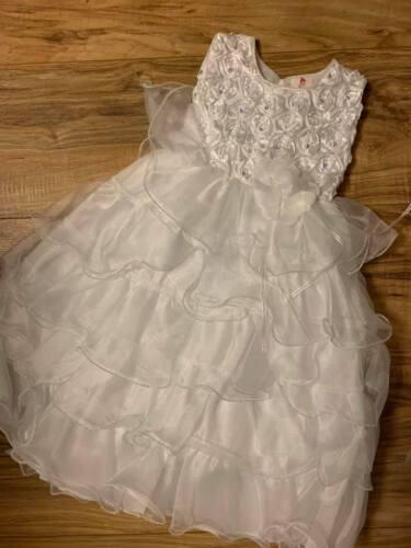 New Baby Girls White Christening Baptism Dedication Dress Gown