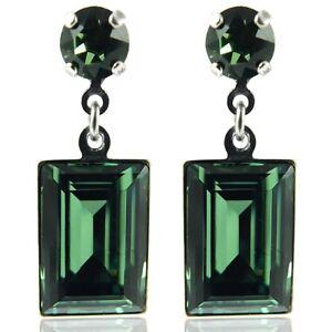 Ohrringe-mit-Kristallen-von-Swarovski-Silber-Gruen-NOBEL-SCHMUCK