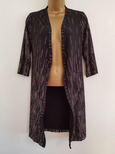 NUOVO Debenhams 8-22 ORO Sparkly Glitter Taglio Lungo a Righe Nero Blazer Kimono