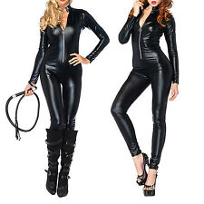 Sexy Catwoman Jumpsuit PU Leather Costume Fancy Dress Catsuit Hen Party Black