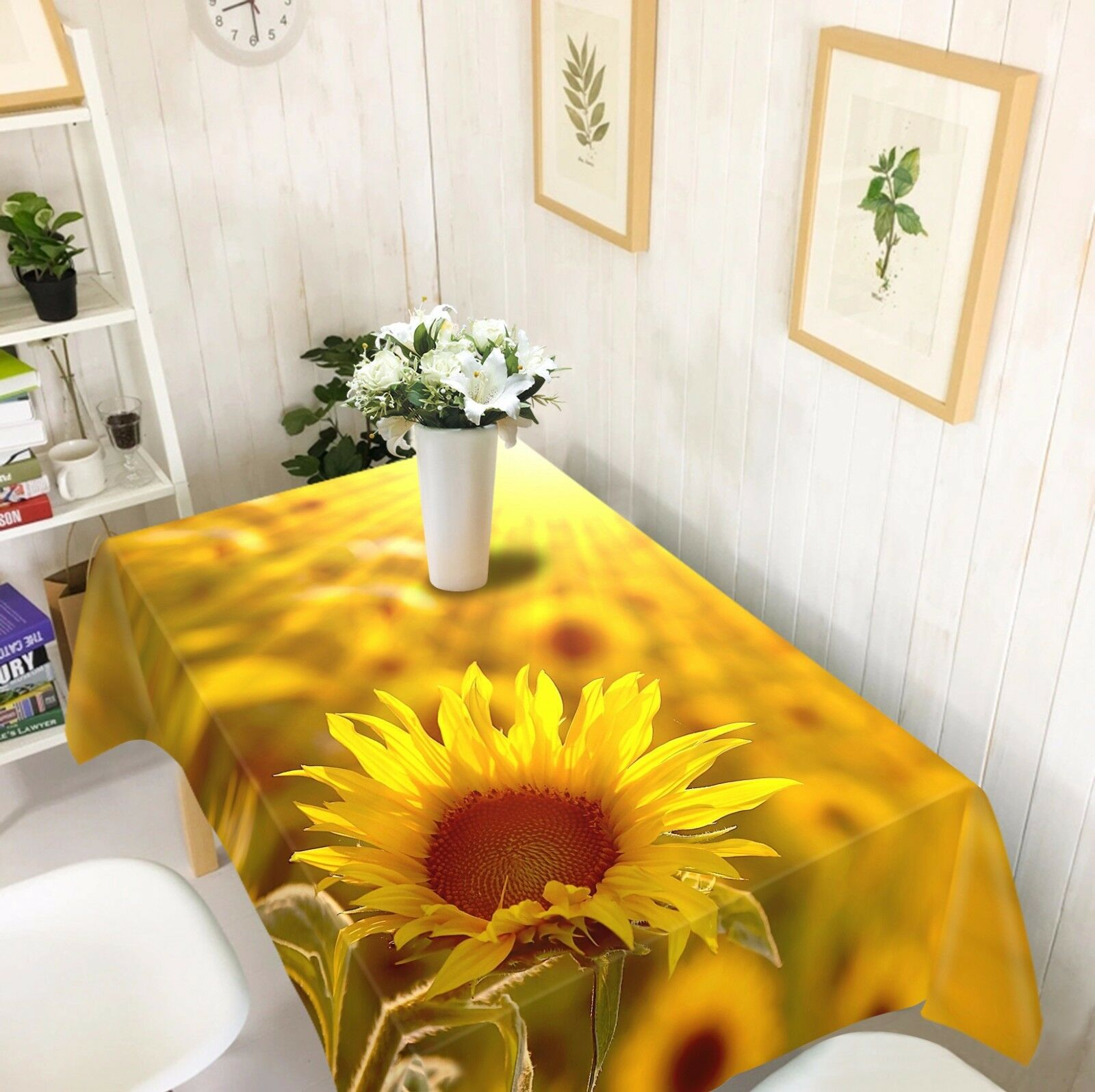 3D Fleur Soleil Nappe Table Cover Cloth fête d'anniversaire AJ papier peint Royaume-Uni Citron