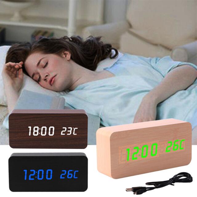 Electronic Digital Wooden LED Alarm Clock Sounds Control Temperature Desktop