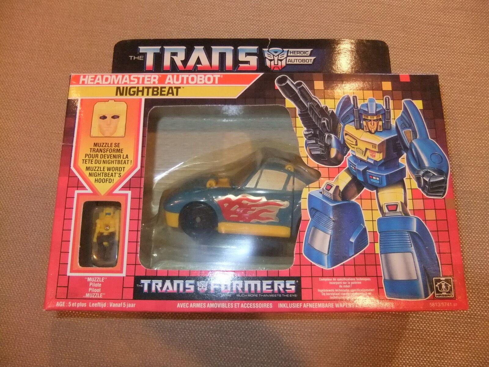 Transformers 1987 1987 1987 Generation 1 Headmaster Autobot Nightbeat+Muzzle Pilote MISB f2d723