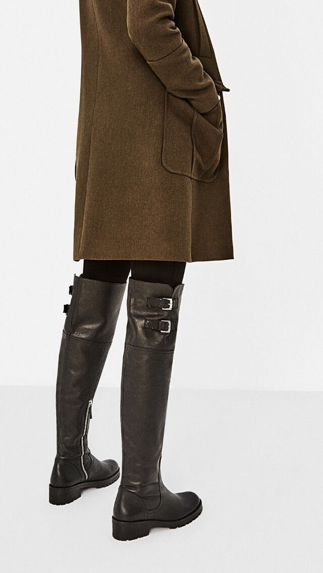ZARA Leather Over The Knee Boots Ridding Style Size 3 Eu 36 USA 5.5